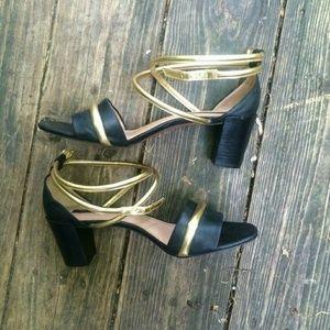 Rachel Zoe Black and Gold Sandals
